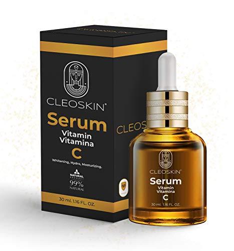SERUM VITAMINA C + Acido Hialuronico, Serum Facial, Anti-edad, Anti-arrugas, Rehidratante, Reafirmante, Aclarante, Contorno de ojos, Antioxidante, Rejuvenecedor para Mujeres y Hombres, CLEOSKIN.