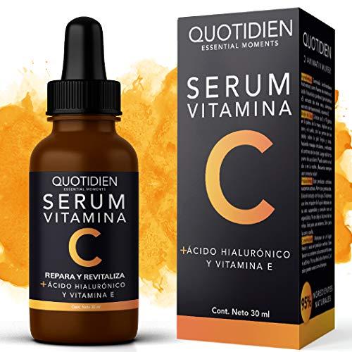 Serum Vitamina C + Ácido Hialurónico + Vitamina E- Serum Facial -95% Ingredientes Naturales- Aclara, Revitaliza, Restablece, Hidrata y Tonifica la Piel-Ideal Para Todo Tipo de Piel-30ml
