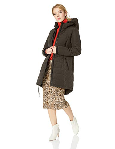 GUESS - Abrigo acolchado con capucha para mujer, Verde oliva, XL