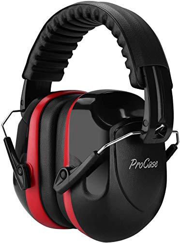 Procase Orejera contra Ruido, Protector Auditivo NRR 26 dB Cancelación de Ruido Profesional, Casco Anti Ruidos Protector de Oído para Campo de Disparo y Temporada de Caza -Negro