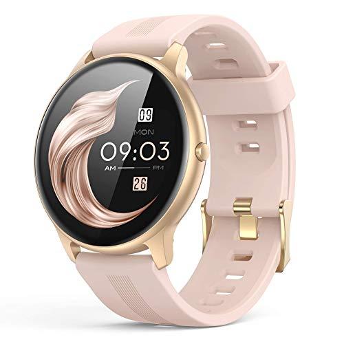 AGPTEK Smartwatch Mujer, Reloj Inteligente Deportivo 1.3 Pulgadas Táctil Completa IP68, Monitor de Sueño, Seguimiento del Menstrual, Control de Musica Regalo Navidad
