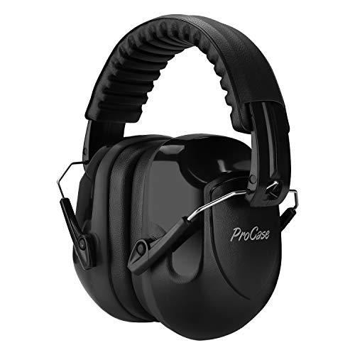 Procase Orejera Antiruido, Protector Auditivo NRR 26 dB Cancelación de Ruido Profesional, Casco Insonorizado Protector de Oído para Campo de Disparo y Temporada de Caza -Negro