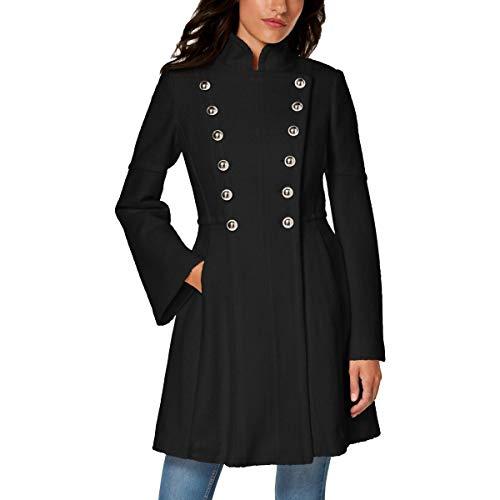GUESS Abrigo de lana para mujer inspirado en estilo militar, Negro, M