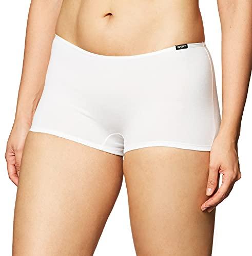 Skiny 70828 Boxer Corto para Mujer, Color Blanco, Mediano