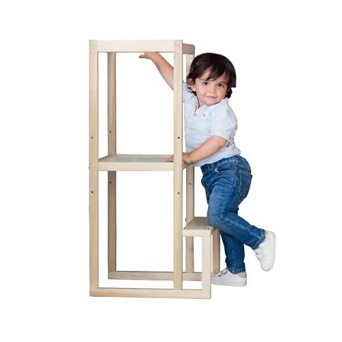 Kit | Torre de Aprendizaje de Madera con barandales para niños Montessori