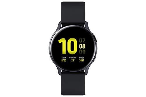 Samsung Galaxy Watch Active2 - IP68 resistente al agua, bisel de aluminio, GPS, frecuencia cardíaca, reloj inteligente Bluetooth - Versión internacional (R830 - 40 mm, color negro aguamarina (renovado)