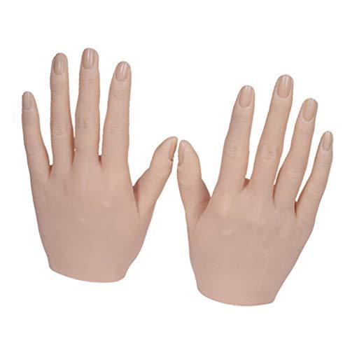 yotijar Uñas entrenamiento práctica mano suave Flexible de silicona muñeca mano de uñas arte entrenador manicura práctica herramienta de mano - La piel