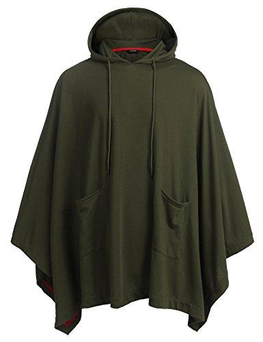 COOFANDY Poncho con capucha unisex con capucha y bolsillo, Verde ejército, Medium