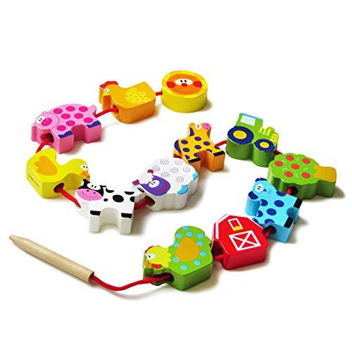 Juguete de Madera Para Niños Animales de la Granja Para Ensartar, Divertido y Didáctico, Juego de Desarrollo Educación Montessori para Niños y Niñas.