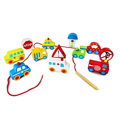 Juguete de Madera Para Niños Carritos Divertidos y Didácticos, Juego de Desarrollo Educación Montessori para Niños y Niñas. Cochecitos Para Ensartar y Apilar.