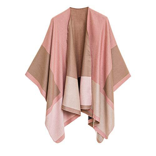 Poncho de mujer con capa Ruana para mujer con frente abierto para otoño invierno, Diseño geométrico: rosa y beige., Talla única
