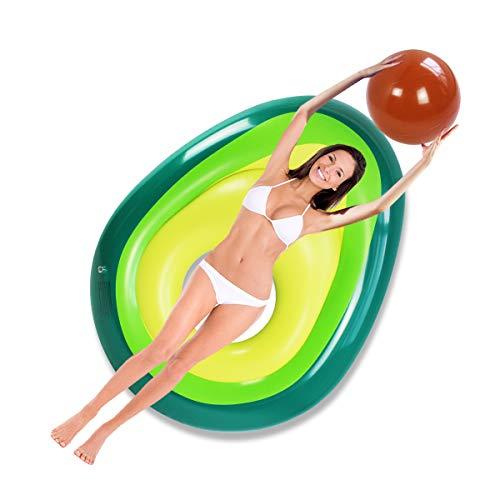 Flotador inflable para piscina, anillo de natación de aguacate de tamaño grande, tubo de agua, balsa de piscina, juguete de seguridad para niños y adultos (160 x 125 x 36 cm)