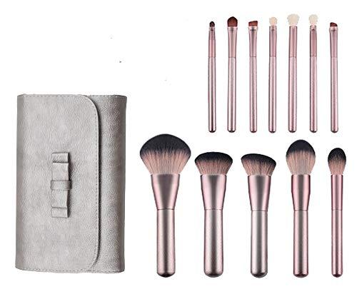 Brochas para Maquillaje FFlion Set Brochas para Maquillaje Profesional Pelo Natural para Maquillaje Brochas para sombra de Ojos y Rostro Regalo Ideal (12x, Oro Rosa)