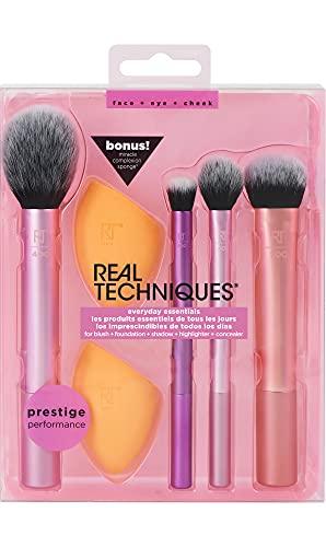 Real Techniques - Juego de brochas de maquillaje con 2 esponjas para sombra de ojos, base, colorete y corrector, juego de 6