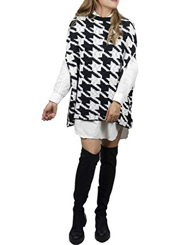 Y YUYUTA Poncho Capa para Mujer: Chal Elegante diseño Pata de Gallo Bicolor Blanco y Negro