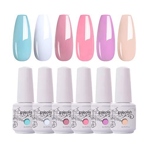 Clou Beaute Gel Polish Set Soak Off Led UV Gel Nail Polish Kit Varnish Nail Art Manicure Salon Collection 6x8ml S011