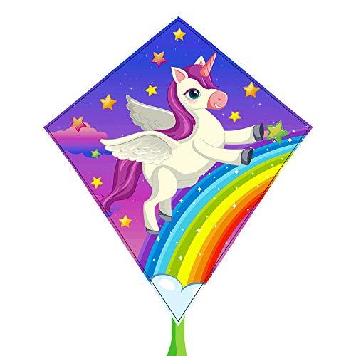 BHD 2021 - Cometas de unicornio para niños, fáciles de volar para niños y niñas con cuerdas de 330 pies para juegos al aire libre