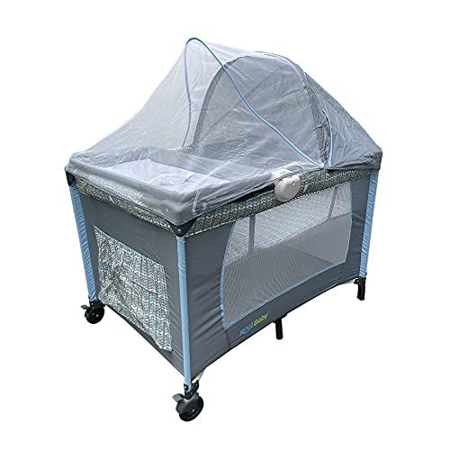 KOOL BABY Corralito para bebé con toldo mosquitero, cuna, cambiador y caja musical MOD. PP-02 (Gris/Azul)