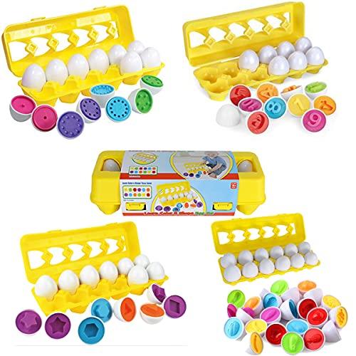 Huevos a juego, color educativo y forma, clasificador de rompecabezas, habilidades, juguetes de estudio, juguetes STEM, juguetes educativos para niños y niños pequeños, para el juego de viaje de Pascua, juego de huevos de aprendizaje temprano, juego de huevos de simulación para bebés, apto para niños de más de 18 meses o más. (12 huevos ) (forma)