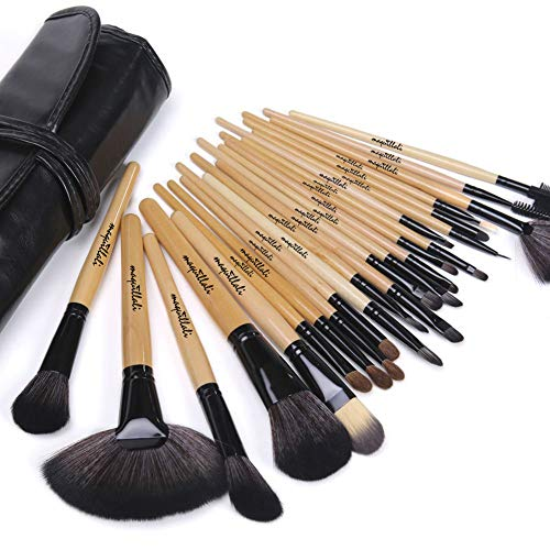 Maquillali Set profesional de 24 piezas brochas para maquillaje (Madera Original)
