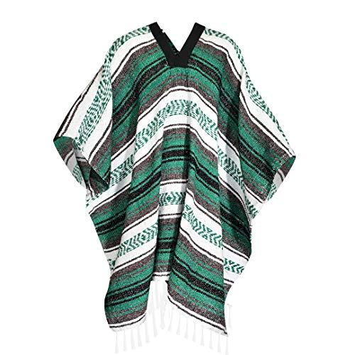 Alpha Poncho Jorongo 100% Artesanal Calientito Varios Colores (Verde)