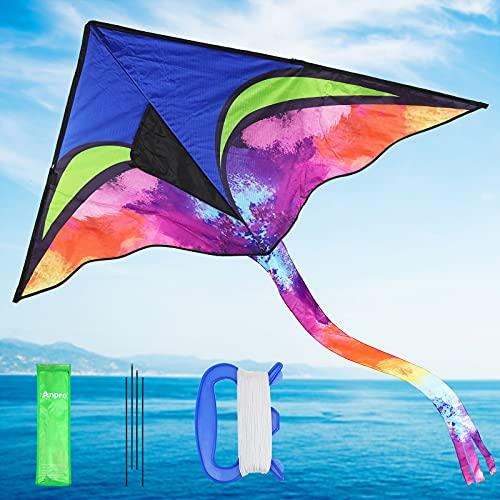 Anpro Cometa Triangular Grande, Cola Colorida de 140cm, Cuerda de tracción de 30m,Tela Ripstop de Alta Calidad, Gran Juguete para Principiantes, Para Actividades en La Playa y al Aire Libre, Fácil de Montar y Volar