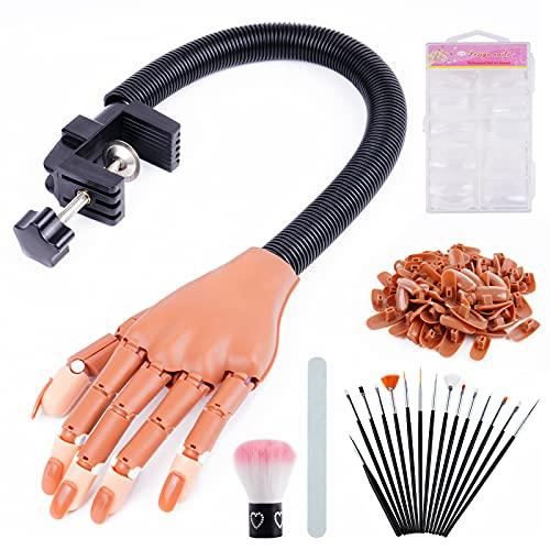 Mano de práctica para uñas acrílicas, WanderLand kits de mano de práctica de entrenamiento de uñas móviles flexibles, manos de maniquí falsas para práctica de uñas, la mejor herramienta de práctica de arte de manicura
