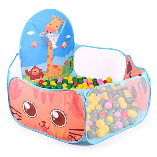 Alberca de Pelotas Plegable PAPU BABY con canasta. Baby Play Tent (Pelotas no incluidas) (Azul)