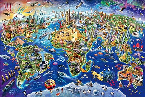 YCMXMY Puzzles 1000 Piezas, Mapa Mundial De Edificios Famosos, Regalo Clásico De Juguete De Rompecabezas, Personalizado De Madera Montaje Rompecabezas Divertido