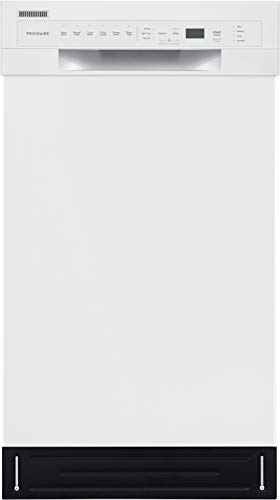Frigidaire Lavavajillas de control frontal compacto ADA de 18 pulgadas en color blanco con brazos de pulverización duales, 52 dBA, incluye entrega en habitación de elección