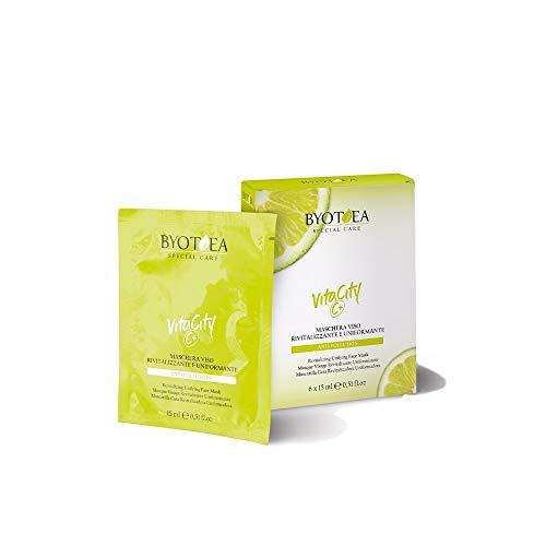 BYOTEA   Mascarilla Facial Vitamina C Rostro Revitalizante y Uniformante 6 x 15 ml   Vegano   Skin Care   Crema Hidratante Facial   Cuidado Facial   Mascarilla Facial