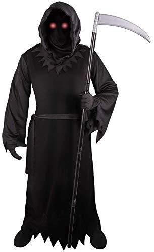 Grim Reaper - Disfraz para adulto con ojos rojos brillantes (talla XL)