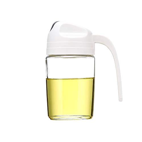 AINAAN Botella de aceite con tapa automática para dispensador de aceite de oliva, recipiente a prueba de fugas, mango antideslizante para cocina, 300 ml, color beige