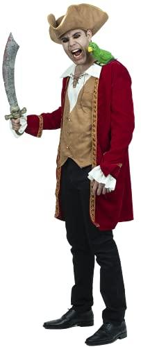 Captain Scarlet, Disfraz de Pirata para Hombre Talla L, Disfraces de Piratas para Hombres Ideales para Halloween y Fiestas