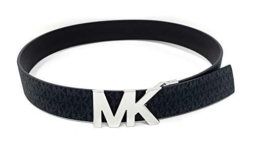 Michael Kors Firma Monogram Cinturón Reversible Negro/Marrón Plata MK Logo, Negro, L