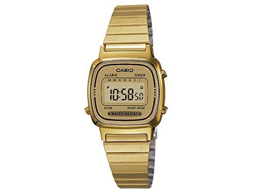 CASIO LA670WGA-9 Reloj de cuarzo clásico con correa de acero inoxidable, dorado, 10 (modelo: LA670WGA-9), 4 x 4 x 4
