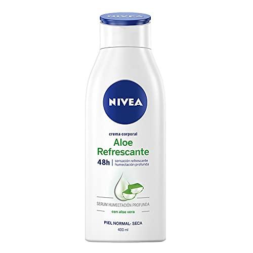 Crema Corporal Refrescante con Aloe Vera para Piel Normal y Seca, 48 horas de Humectación Profunda