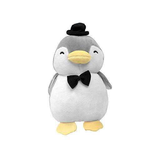 Peluche De Pinguino Gris De Boda con Sombrero y Moño, 24.2 x 23.9 x 13 CM