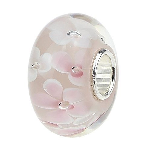 Ollia Jewelry Lampwork Murano Glass Beads Hawaii Garden Charm with 925 Sterling Silver Core Flower Blossom Charm Pink Charms by Ollia 925 Sterling Silver Glass Charms