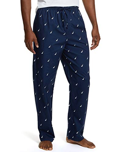 Nautica Pantalón de pijama para hombre, tejido suave, 100% algodón, cintura elástica, para dormir, Azul marino (Maritime Navy), Medium