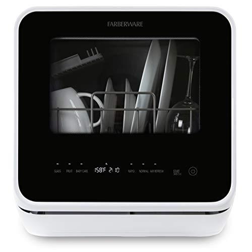 Farberware FDW05ASBWHA - lavaplatos portátil completo con depósito de agua integrado de 5 litros, 5 programas, cuidado del bebé, vidrio y fruta (blanco)