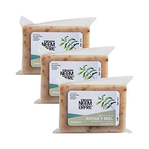 Paquete de 3 - Jabón Natural de Avena y Miel Artesanal de Neem Aceite Oliva Tea Tree - Sin Parabenos Petrolatos Grasa Animal- 150 g c/u - 5.29 oz each-Bienestar Neem Erfre
