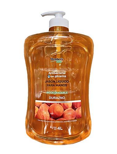 Jabón Antibacterial Líquido Para Manos Con Glicerina Biodegradable Durazno 4 Litros