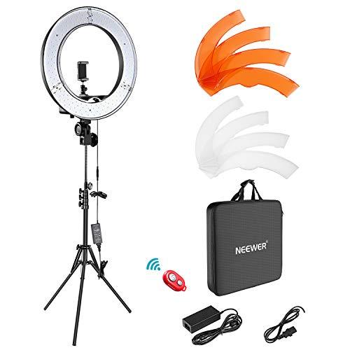 Neewer Iluminación Kit: 48cm Exterior 55W 5500K Regulable LED Luz del Anillo, Soporte de Luz, Receptor para el teléfono Inteligente, Youtube, TikTok, para Autorretrato de Grabación
