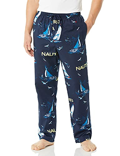 Nautica pantalón pijama para hombre, tela suave, 100% algodón, con cintura elástica, azul Depths, Large