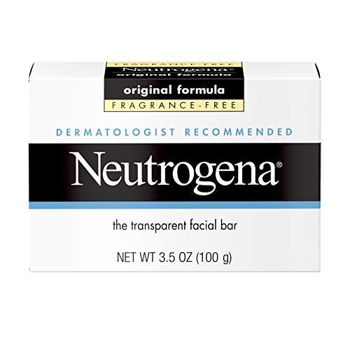 Neutrogena Barra de limpieza facial original sin fragancia con glicerina, jabón suave puro y transparente, sin detergentes agresivos, tintes y endurecedores, 3.5 onzas (paquete de 2)
