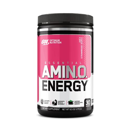 OPTIMUM NUTRITION ESSENTIAL AMINO ENERGY, Juicy Strawberry Burst, Keto Friendly Preworkout and Essential Amino Acids with Green Tea and Green Coffee Extract, 30 Servings