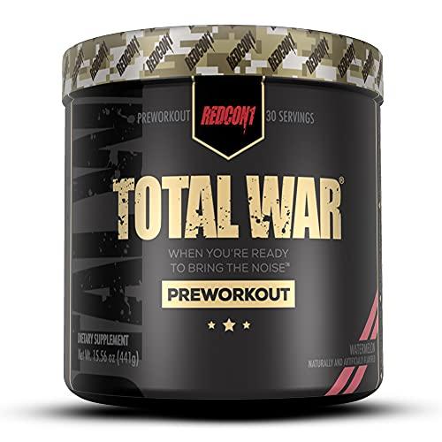 Redcon1 Total War – Pre Workout, sandía (30) porciones, aumentar la energía, aumentar la resistencia y enfoque, beta-alanina, cafeína