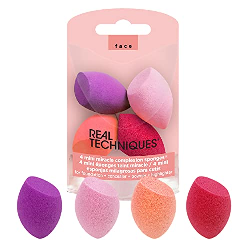 Real Techniques Cruelty Free Mini MC Sponges, (Pack of 4), with Revolutionary Foam Technology, Ideal for Liquid or Cushion Foundation, Synthetic Materials, Latex Free