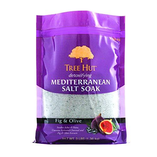 Tree Hut desintoxicante sal mediterránea empapado higo y oliva, 3 libras, ultra hidratante Epsom para nutrir el cuidado esencial del cuerpo